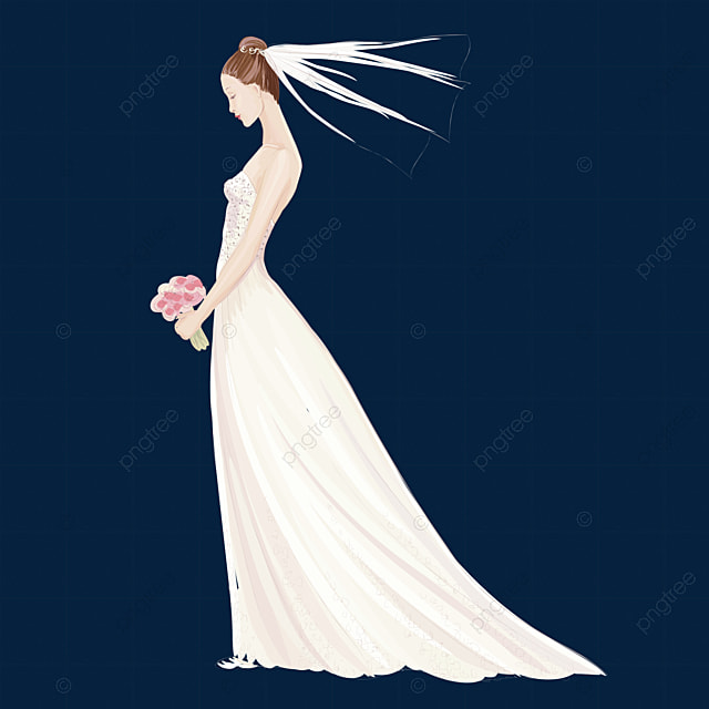 White Wedding Veil Wedding Clipart Veil Wedding Dress Png Image