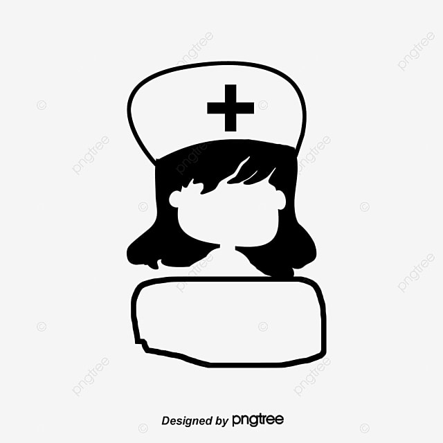 black and white cartoon nurse head logo black and white