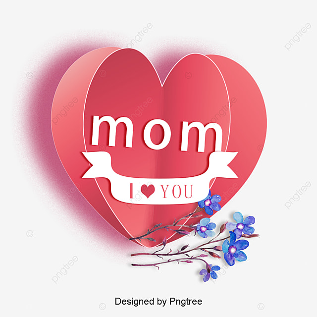 I Love You Mom English Heart Shaped Happy Mothers039 Day Png