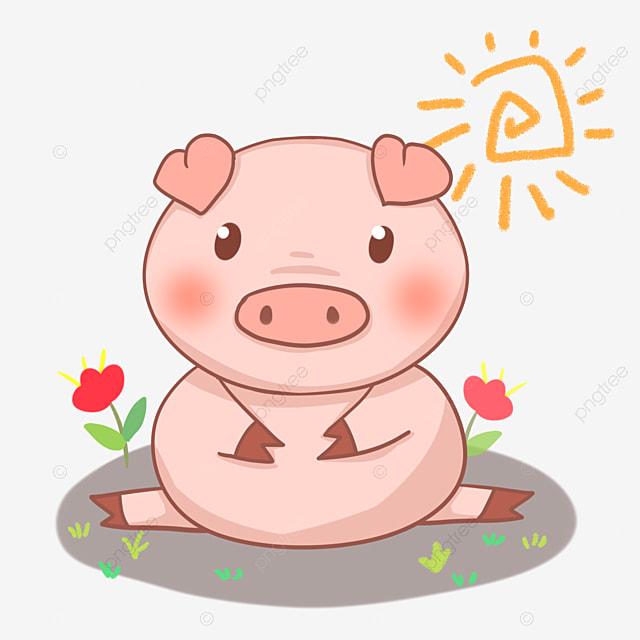 petits cochons assis dans la boue heureux de la boue et de