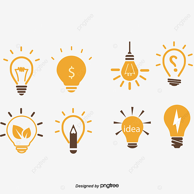 Vector Light Bulb New Ideas Icons Yellow Round Idea Free PNG And PSD