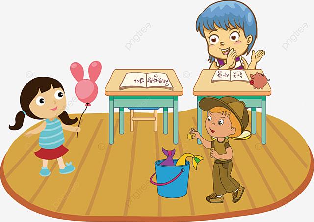 Vector Hand Painted Niños Leyendo Vector Pintado A Mano
