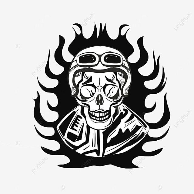Vector Icono De Una Calavera Pintada A Mano Esqueleto El Terror ...