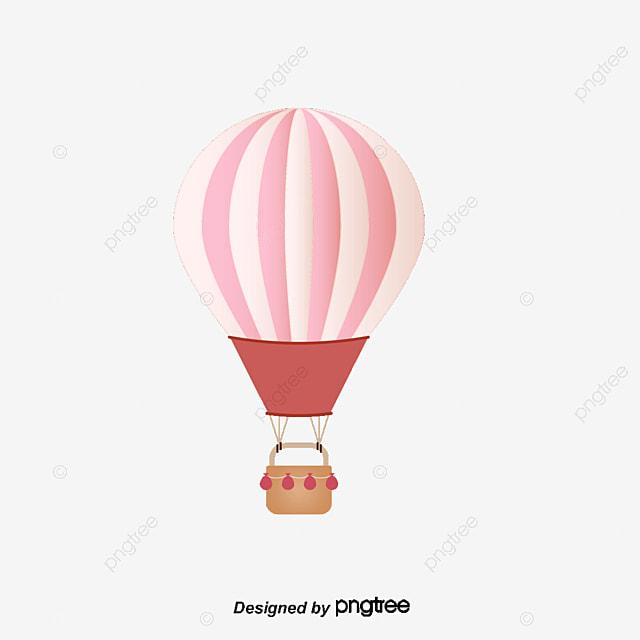 Vector de dibujos animados de globo de aire caliente de color rosa