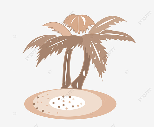 Beach Beach Cartoon Green Coconut Trees Png Image And