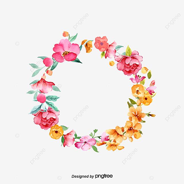 Pink Hand-painted Peach Flower Borders Material, Peach Clipart, Flower Clipart, Hand Painted