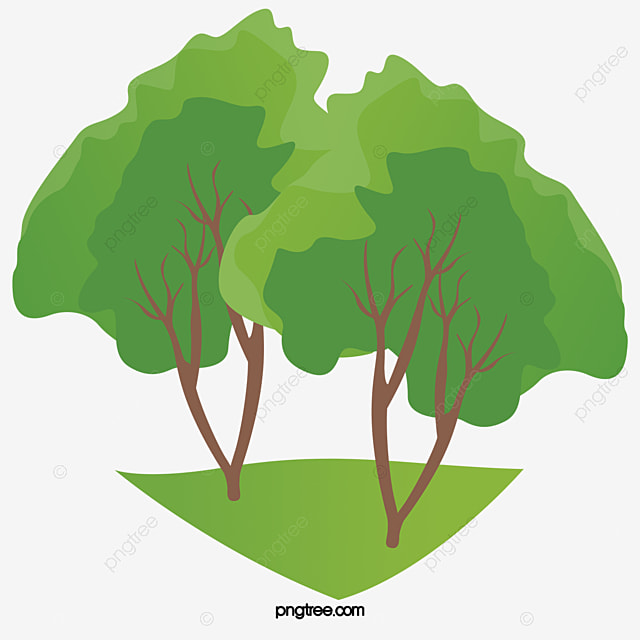 Green Tree Png Vector Element Grassland Cartoon PNG And