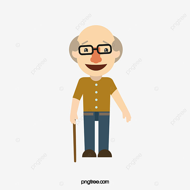 Cartoon Characters Old Man : Happy old man grandpa take a walk crutch png and vector