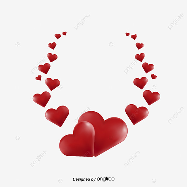 Wedding Png Transparent Free Images: Wreath With Red Hearts, Wedding, Festive, Love PNG And