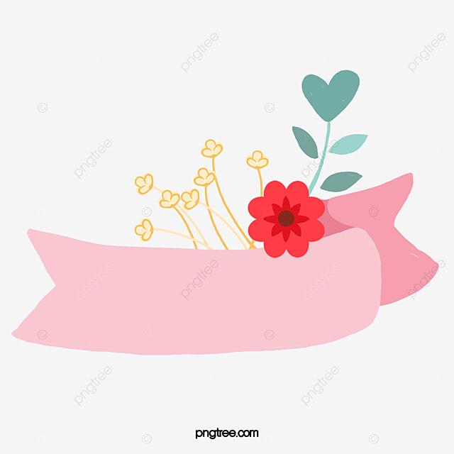 Cartoon Pink Flower Title Box Cartoon Clipart Flower Clipart
