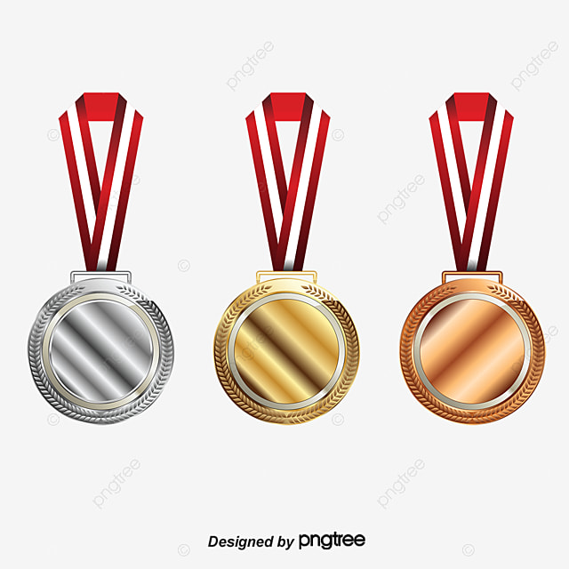 vector color gold and silver bronze annotation medal