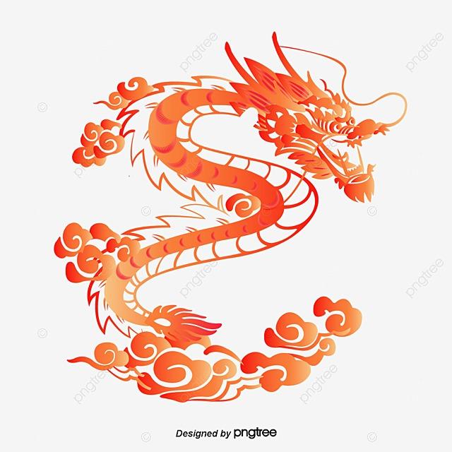 Vector Dragon Chino, Rojo, Para Colorear, Dragon PNG y Vector para ...