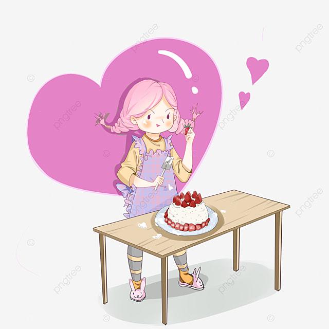 coração cor de rosa cupcakes desenhos pintados à mão bolo de