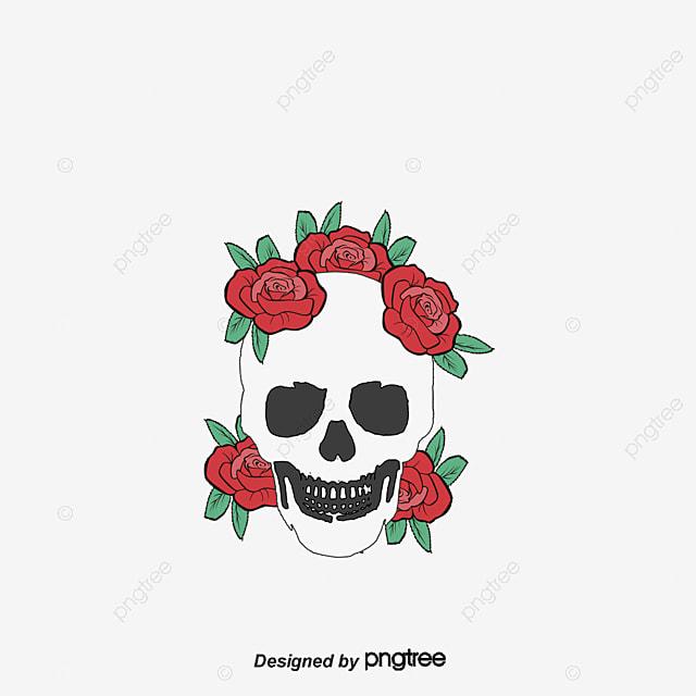 Calavera Rosa Decorado Vector De Material Personalidad Punk Viento