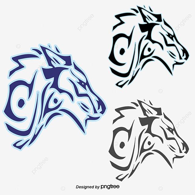 cartoon hand painted blue wolf, wolf head, cartoon wolf, blue wolf