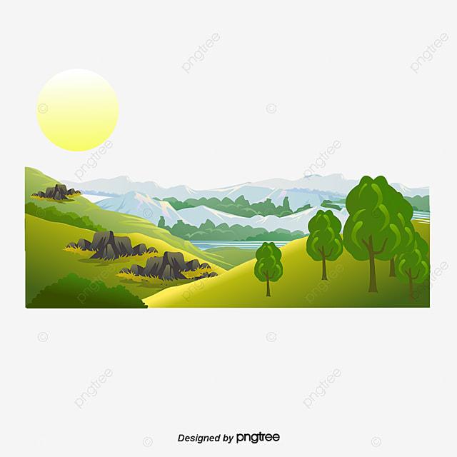 Gambar Vektor Gunung Dan Sungai Pemandangan Indah Clipart Gunung Vektor Kartun Yang Dilukis Dengan Tangan Png Dan Vektor Dengan Latar Belakang Transparan Untuk Unduh Gratis