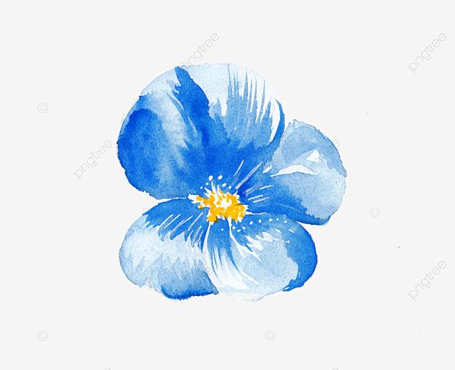Fleur Bleue Aquarelle Un Motif Décoratif Bleu Aquarelle