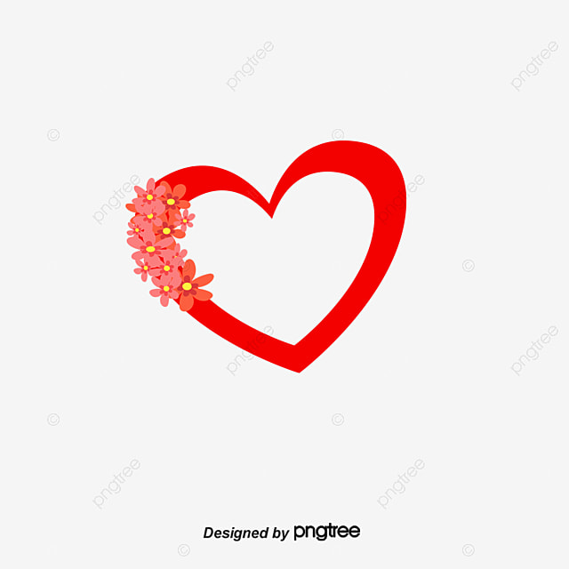 Red Love On The Borders Of The Flowers, Flowers, Love, Frame PNG ...