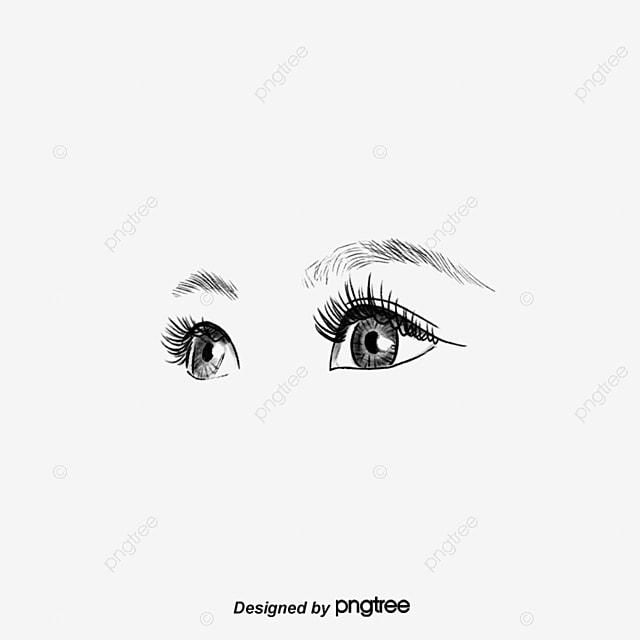 hand painted bright eyes vector fashion eyes eyebrow eyeball png