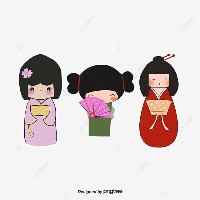 Le Dessin Anime Japonais En Kimono Girl De Motifs Decoratifs Dessin