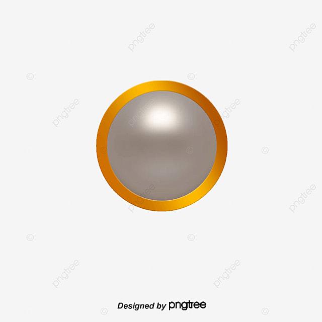 vector gray metal frame round crystal button vector gray metal