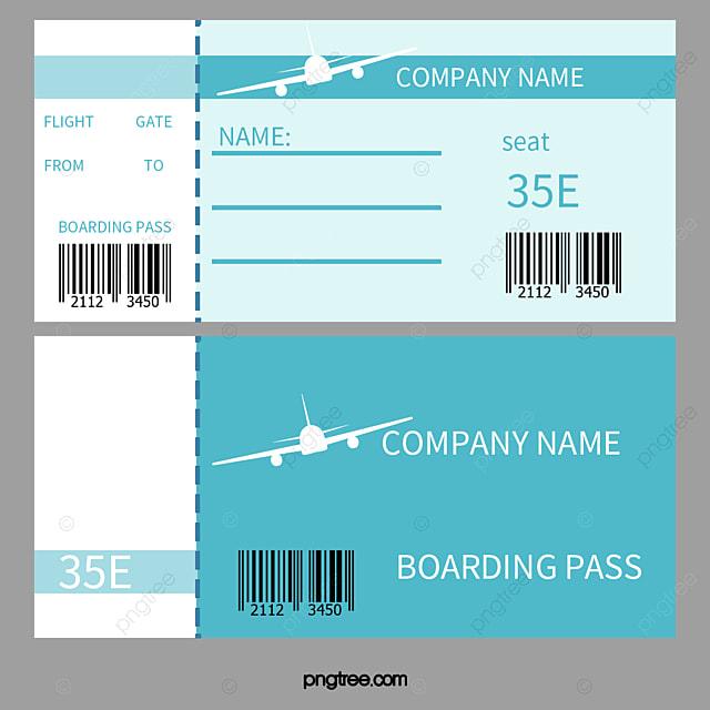 Biru Segar Boarding Lulus Vektor Tiket Penerbangan Boarding Pass