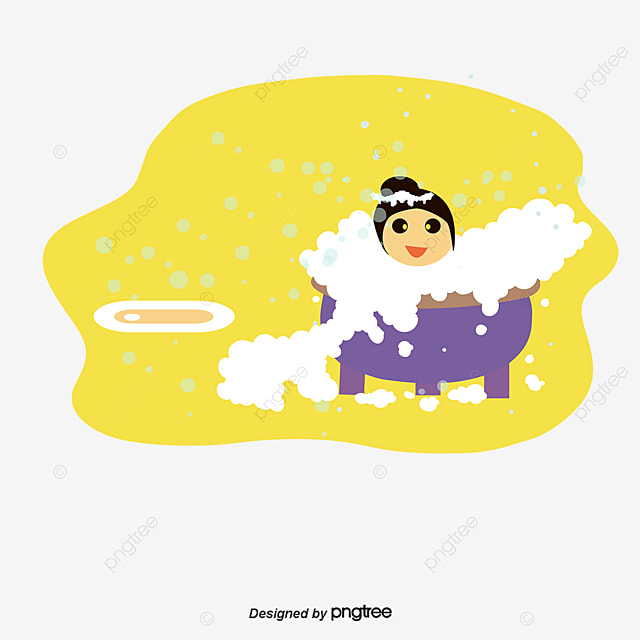 Cute Children Painting Bubble Bath Vector Cartoon Take A Foam PNG And