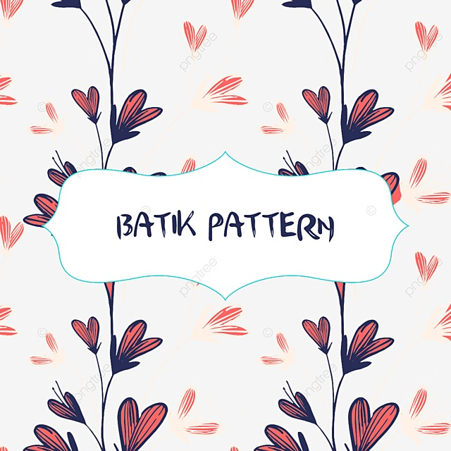 Vector Batik Pattern With Flowers And Clouds, Vector