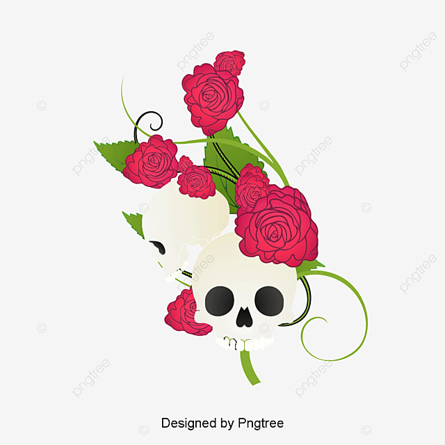 2d58766c3 vector hand painted skull and flowers, Vector, Hand Painted, Skeleton PNG  and PSD