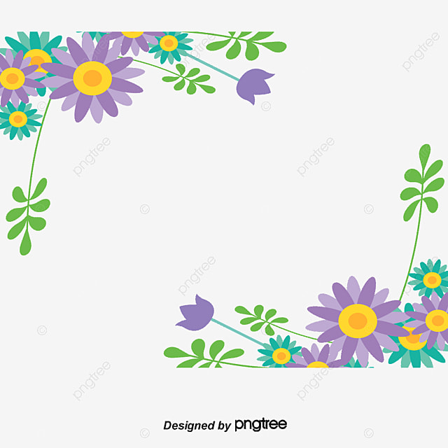 Blue And Purple Flower Borders Vector Material Vine Flowers Free PNG