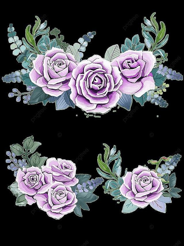 Purple Roses Watercolor Green Leaves Yellow Flowers Png Image And