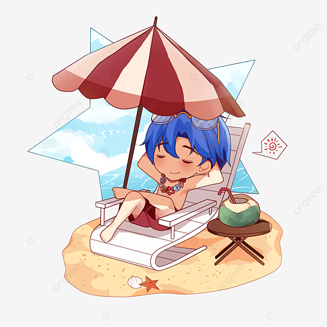 Cartoon Beach Vacation Boy Clipart PNG Image And