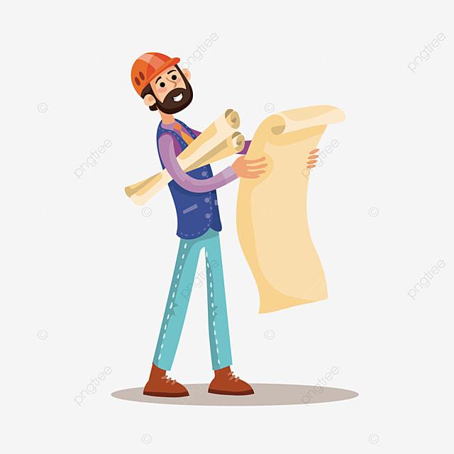 無料ダウンロードのための図面の建築工事員を見る キャラクター 建設労働