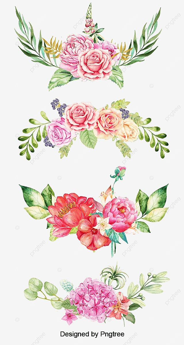 Hand Painted Watercolor Tropical Borders Hand Drawn
