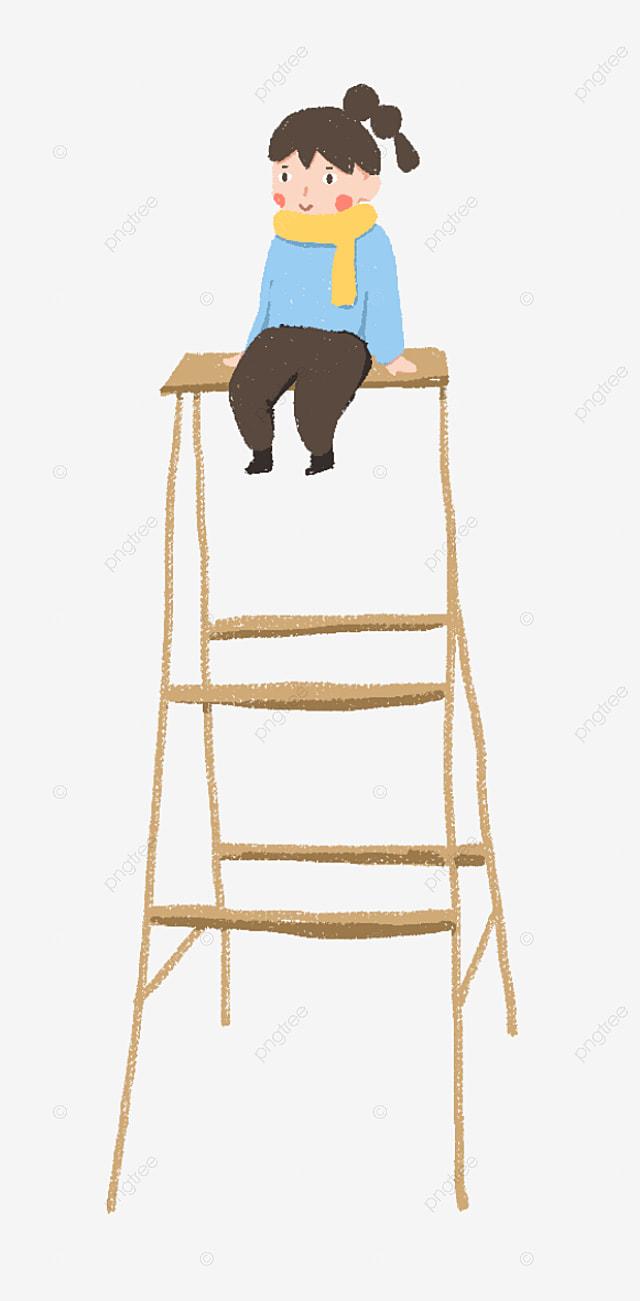 Los Trabajadores Están Sentados En La Escalera Para Pintar