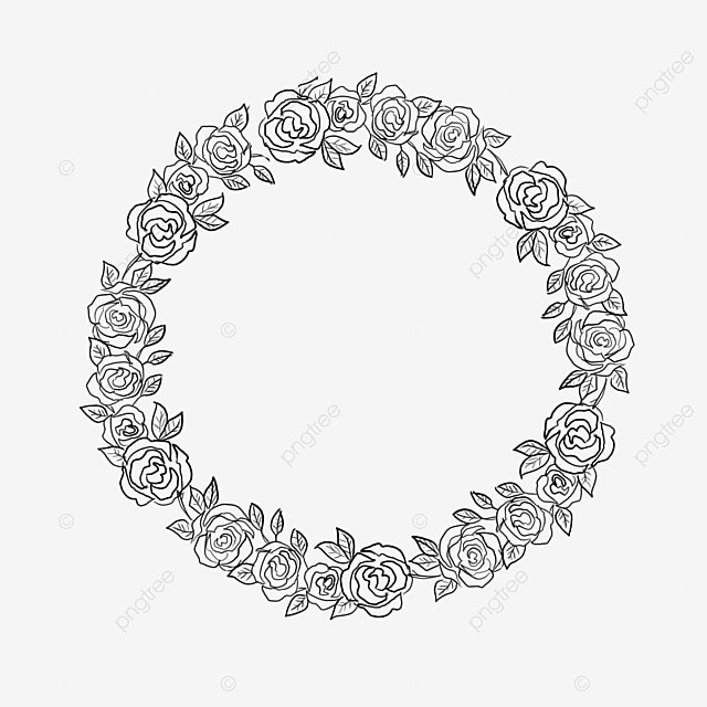 Hand Painted Watercolor Round Wreath Decorated Borders Clipart Border PNG