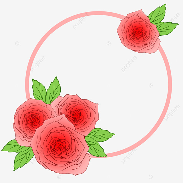 Pink Flowers Round Flower Ring Petals Falling Clipart Matte Finish Png