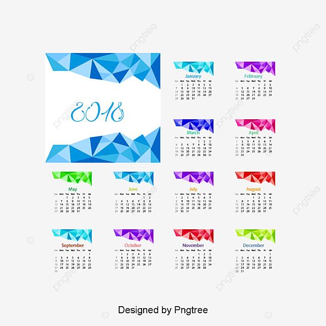 Calendar Design Png : Symphony low polygon calendar template vector material