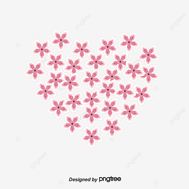 Beautiful Pink Flower Heart Shaped Border Clipart Love Png