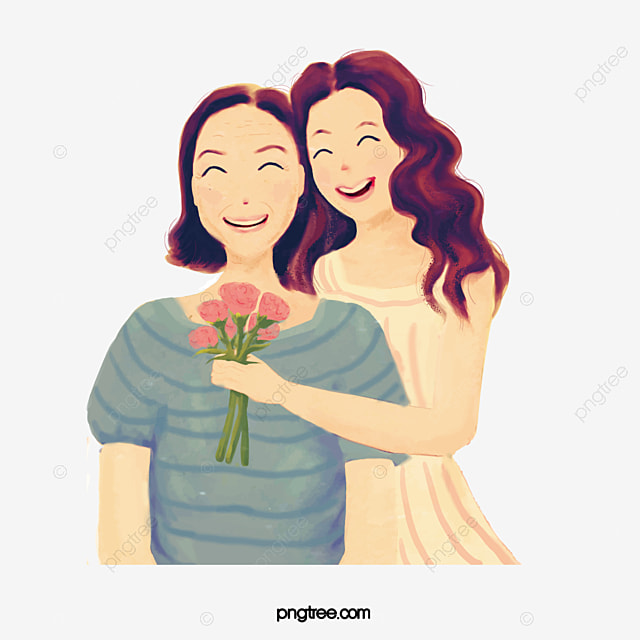 Smiling Mother, Cartoon, Hand Painted, Mother PNG ...