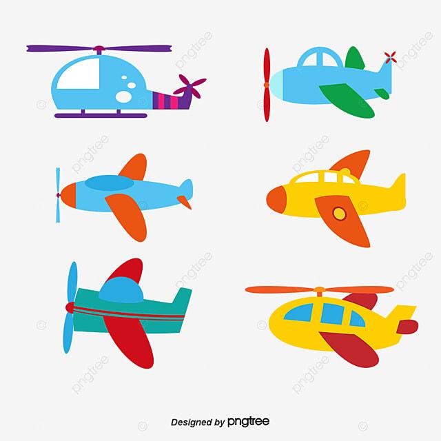 Lindo Color Cartoon Avión Modelo Vector Material Aeronave Color ...