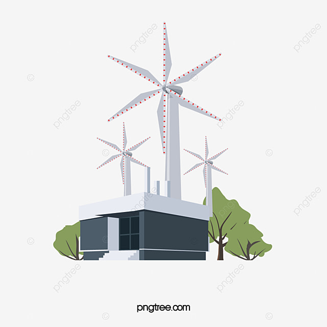 Wind Power Station, Vector Material, Wind Energy, Environmental ...