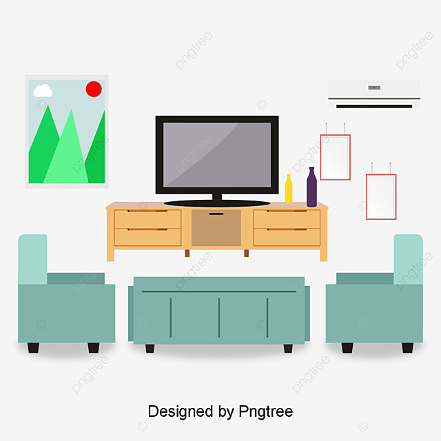 Living theater in the living room, Vector Material, Red Sofa, Home ...