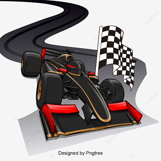 Big Red Sports Car Racing Clipart PNG Image