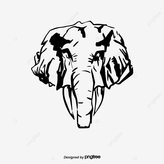 T te d l phant de silhouette de dessins anim s logo le - Tete elephant dessin ...