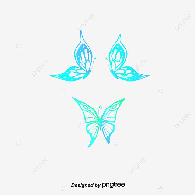Gradiente De Dibujos Animados Mariposas Pintadas A Mano Cartoon