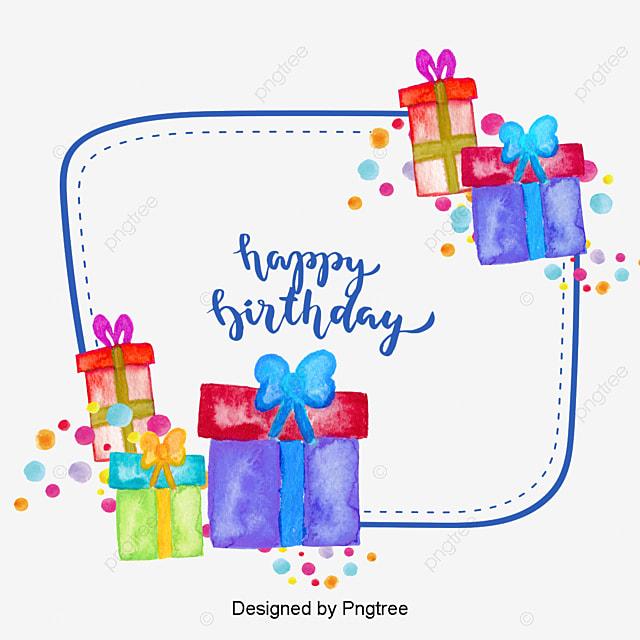 Hand Painted Birthday Gift Box Vector Png Watercolor Gift Box