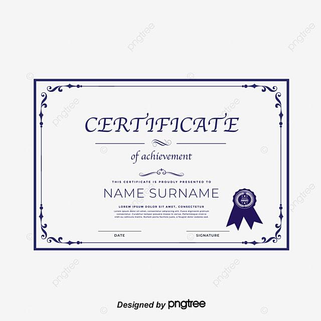 navy blue european border qualification template vector png certificate qualification certificate png and - Blue Certificate Border Template