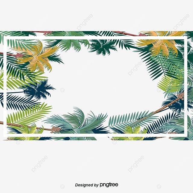 Decoraci n de hojas tropicales caja vector png marco de - Marcos para plantas ...