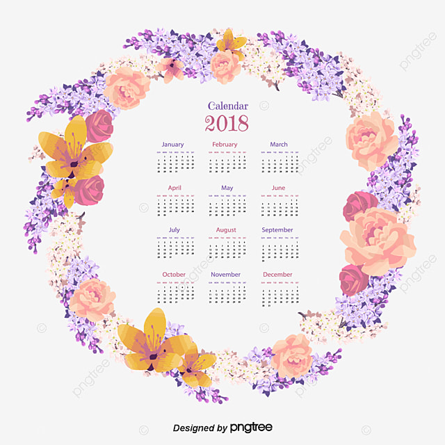exquisite purple watercolor wreath calendar vector png 2018 png and vector